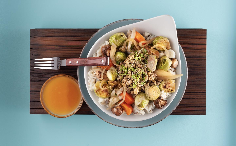 Lentil Bourguignon Bowl with Mushrooms