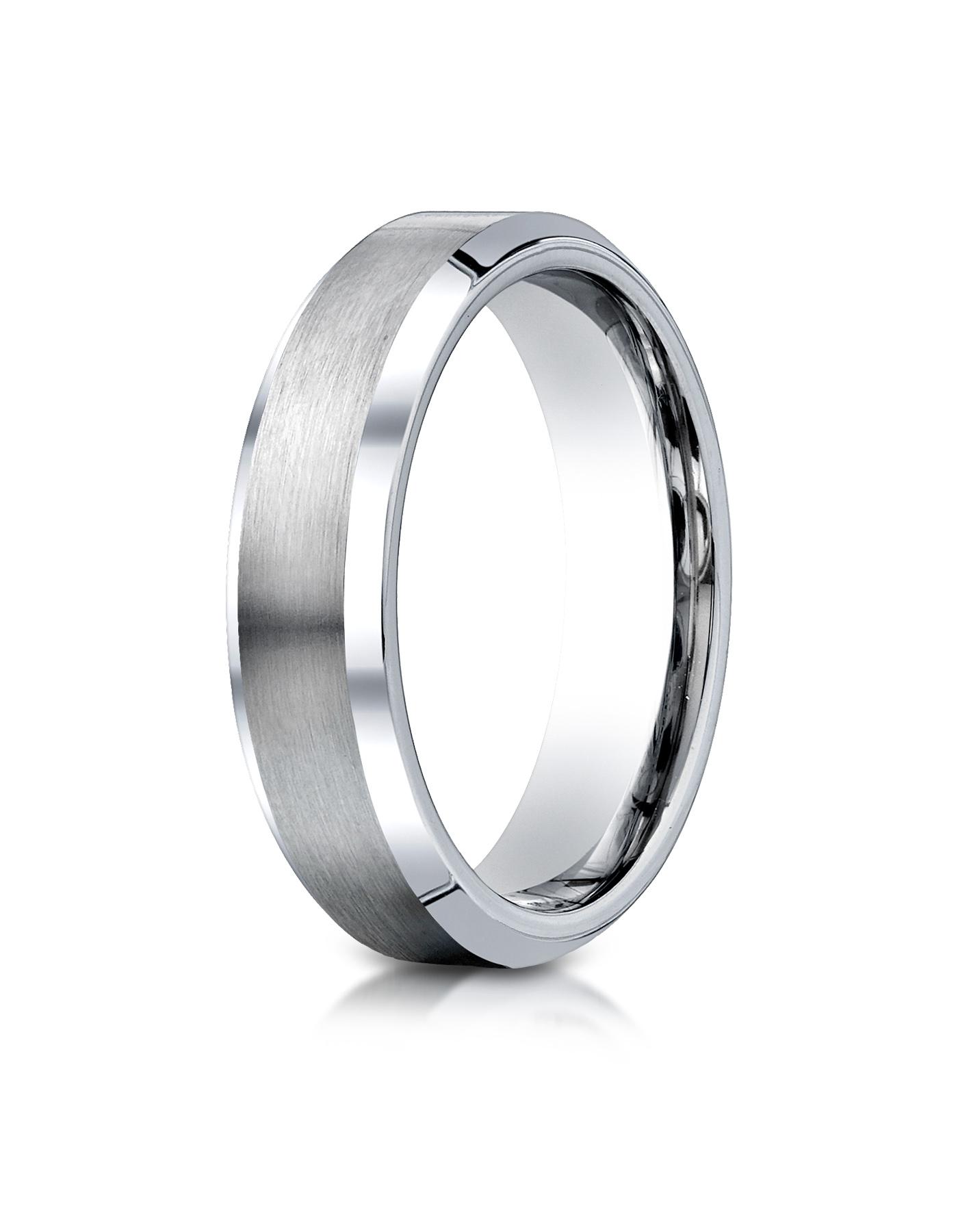 Benchmark Cobaltchrome 6mm Comfort-Fit Satin-Finished Beveled Edge Design Ring