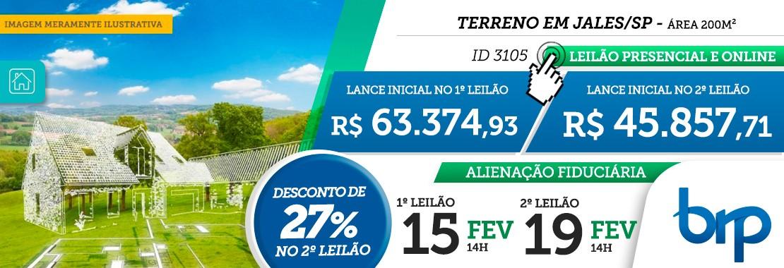Leilão BRP Terreno em Jales/SP