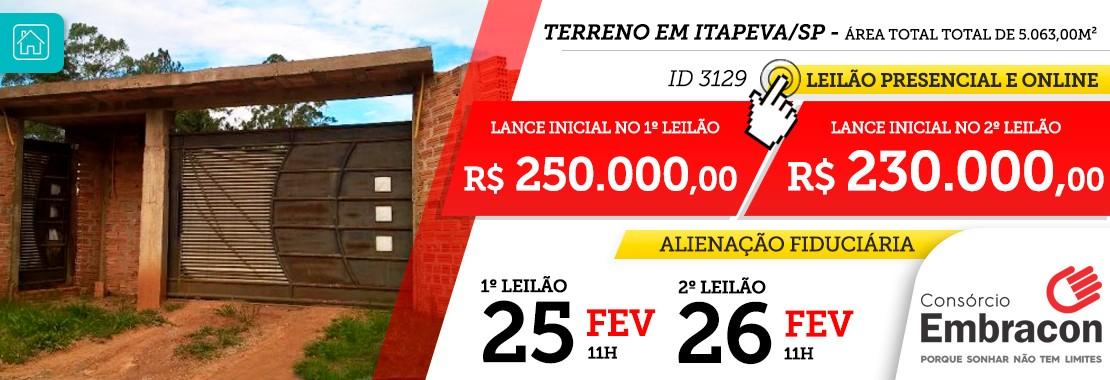 Leilão Embracon - Terreno em Itapeva/SP
