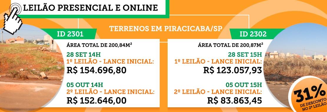 Leilão de Terrenos em Piracicaba/SP