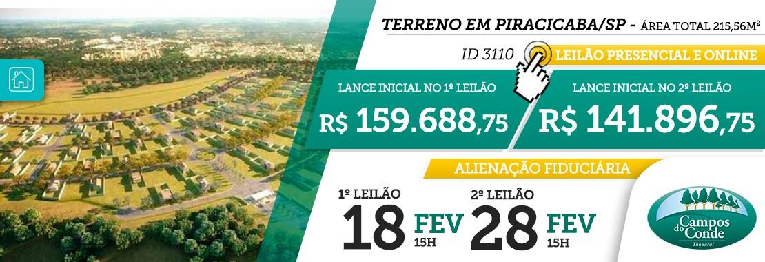 Leilão Terreno Piracicaba/SP