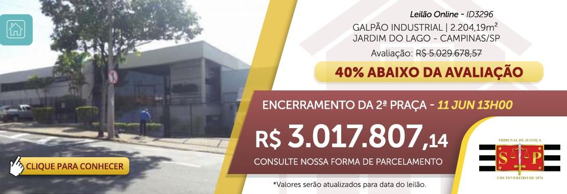 Leilão de Galpão Industrial em Campinas/SP