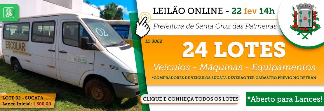 Leilão Prefeitura Santa Cruz das Palmeiras