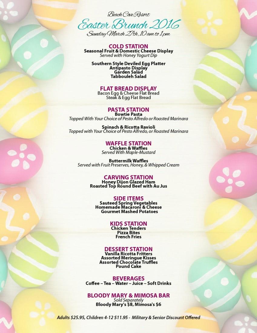 Beach Cove Resort in North Myrtle Beach Easter Menu