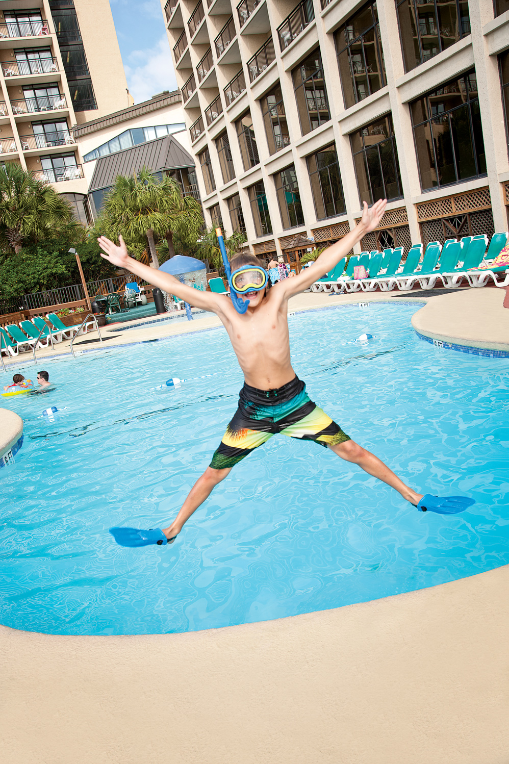 Kid Jumping for Excitement at Beach Cove Resort in North Myrtle Beach, SC
