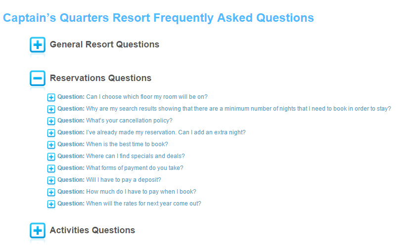 Screenshot of one of the useful tools on the Captain's Quarters Resort website -- the FAQ page