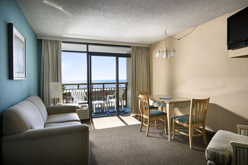 Oceanfront Double Suite at Captain's Quarters Resort in Myrtle Beach, SC.