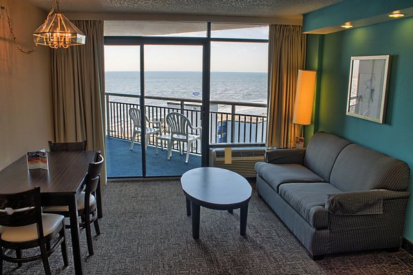 King Suite in Myrtle Beach at Captain's Quarters Resort.