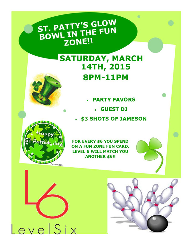 St. Patrick's Weekend Event at Level 6 Bowling Center in Myrtle Beach