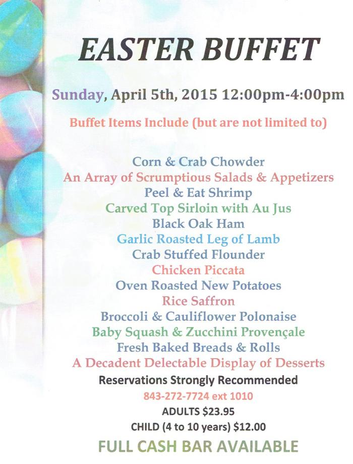Easter Menu for Ocean Creek Resort
