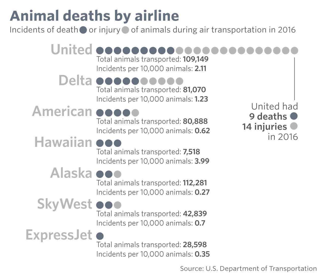 United Airlines Most Animal Deaths On U S Flights