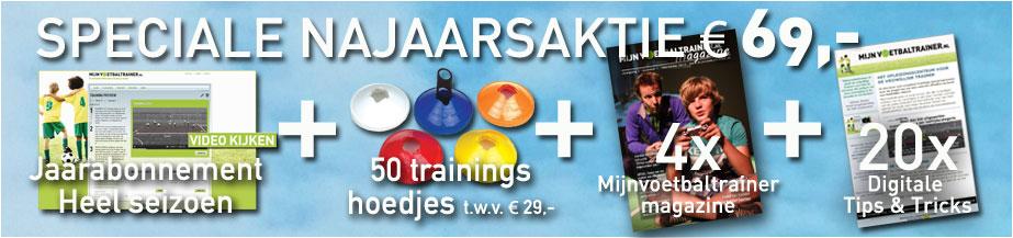 NAJAARSACTIE: sluit nu een jaarabonnement af en ontvang een set van 50 trainingshoedjes t.w.v. € 29,00 GRATIS