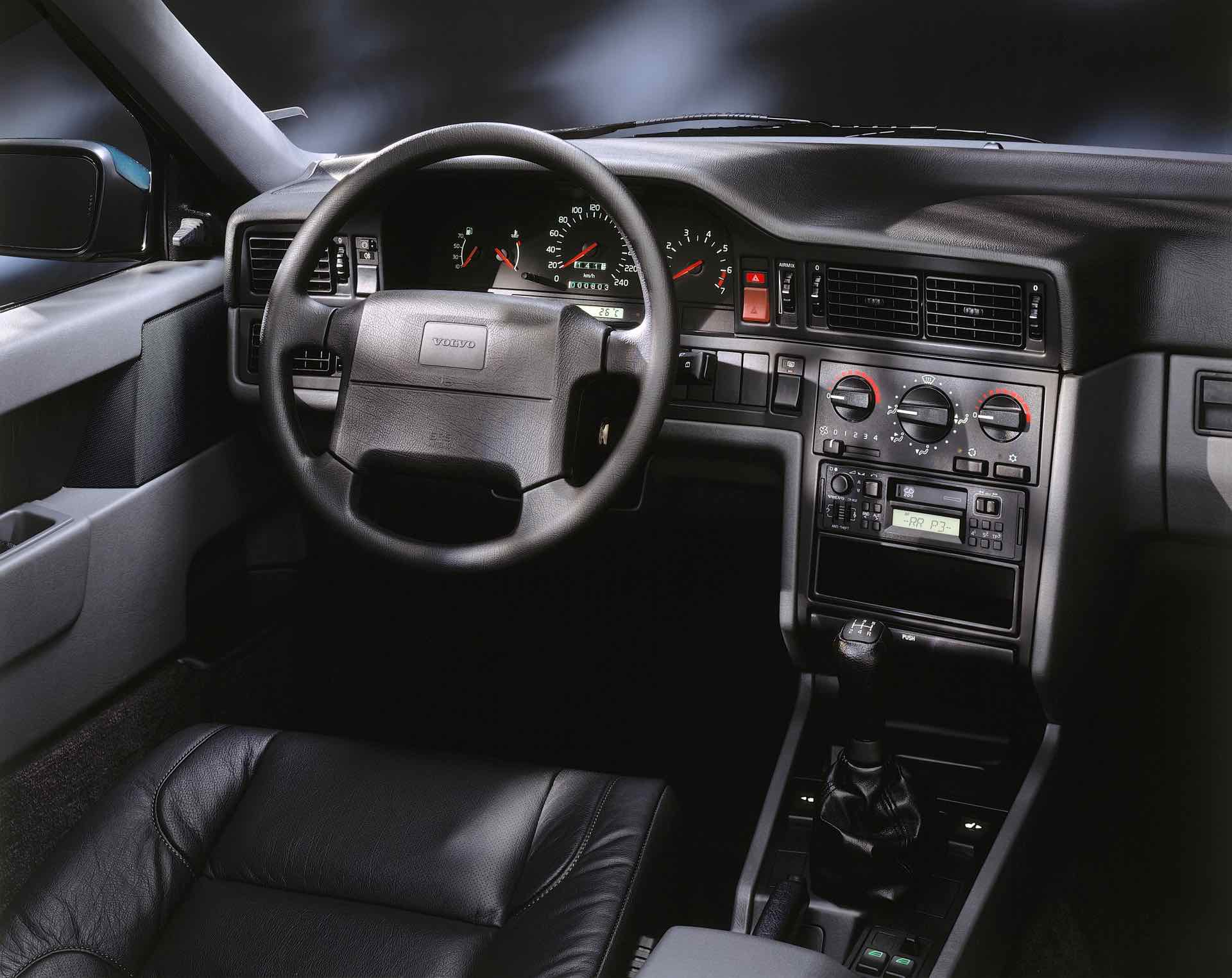 Volvo 850 Interior. This shows 850 dash, driver's seat, steering wheel and instrument cluster. And, this is a rare 850 5-speed manual.