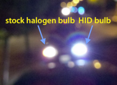 Headlight glare: HID bulb vs halogen bulb