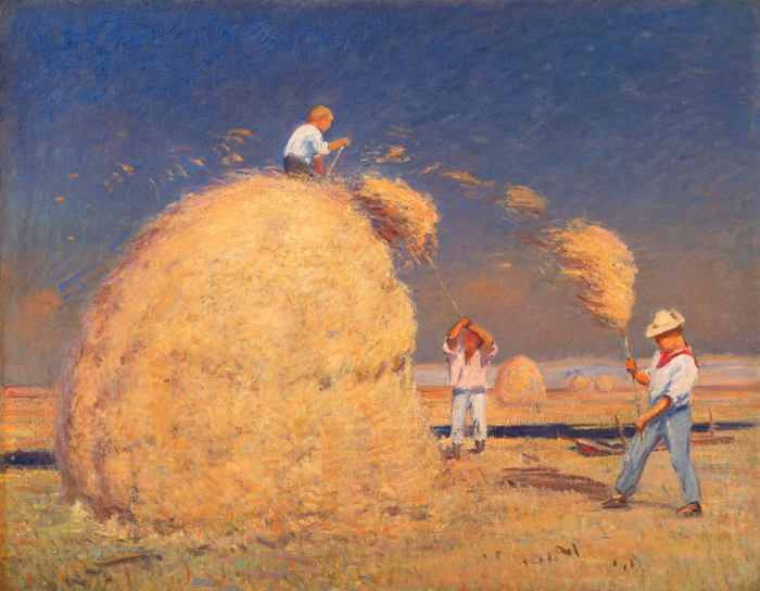 Pitching Hay, Upper Farm, circa 1915, oil on canvas, 26 1/4 x 33 1/2 inches