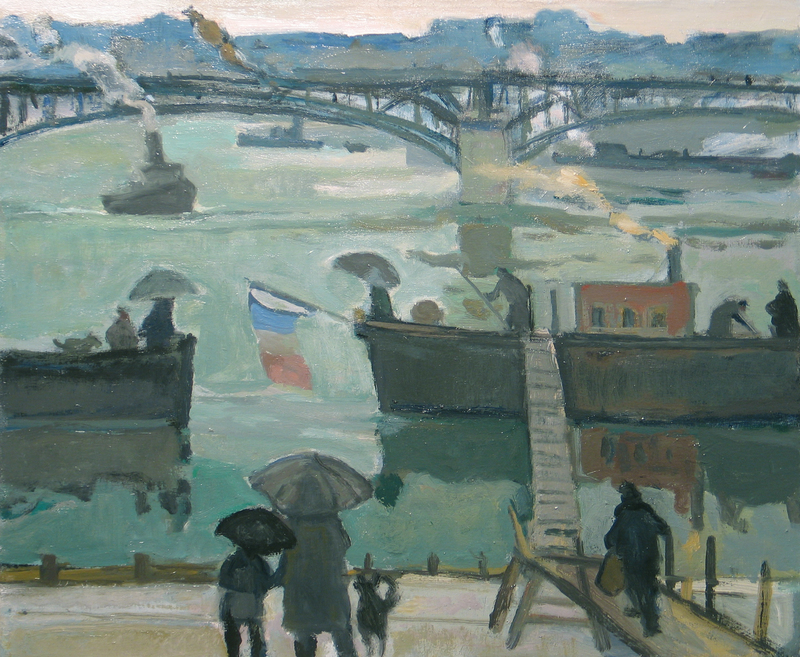 Barges on the River Seine by Bernard Lamotte (1903-1983)