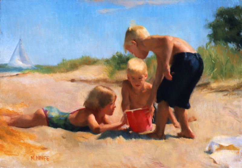 At the Beach by Mary Minifie (20/21st Century)