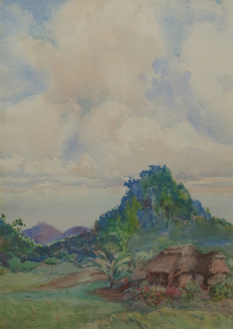 Thatched Hut in Landscape by Nelly Littlehale Murphy (1867-1941)