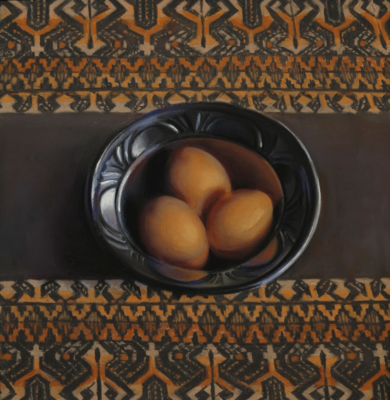 Brown Eggs, Black Bowl by Janet Monafo