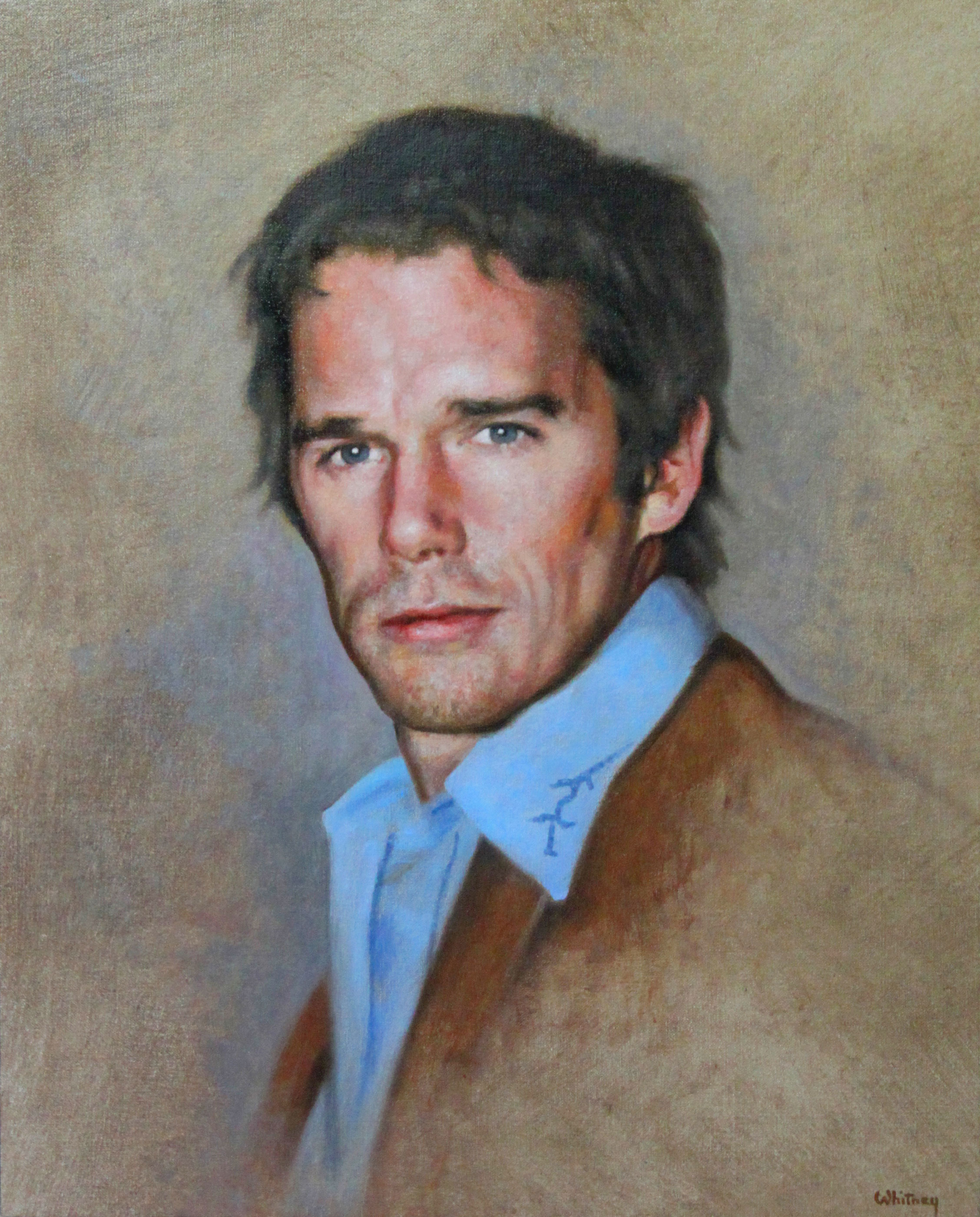 Ethan hawke  the players  nyc  oil on canvas 20 x 16 web