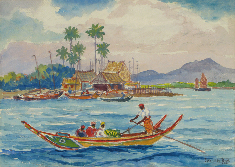 Malay Harbor Boat by Reynolds Beal (1867-1951)