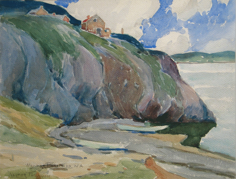 Houses on the Cliff by Walter Farndon (1876-1964)