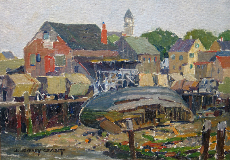 Drying Gillnets, Arnold's Wharf, East Gloucester by James Jeffrey Grant (1883-1960)