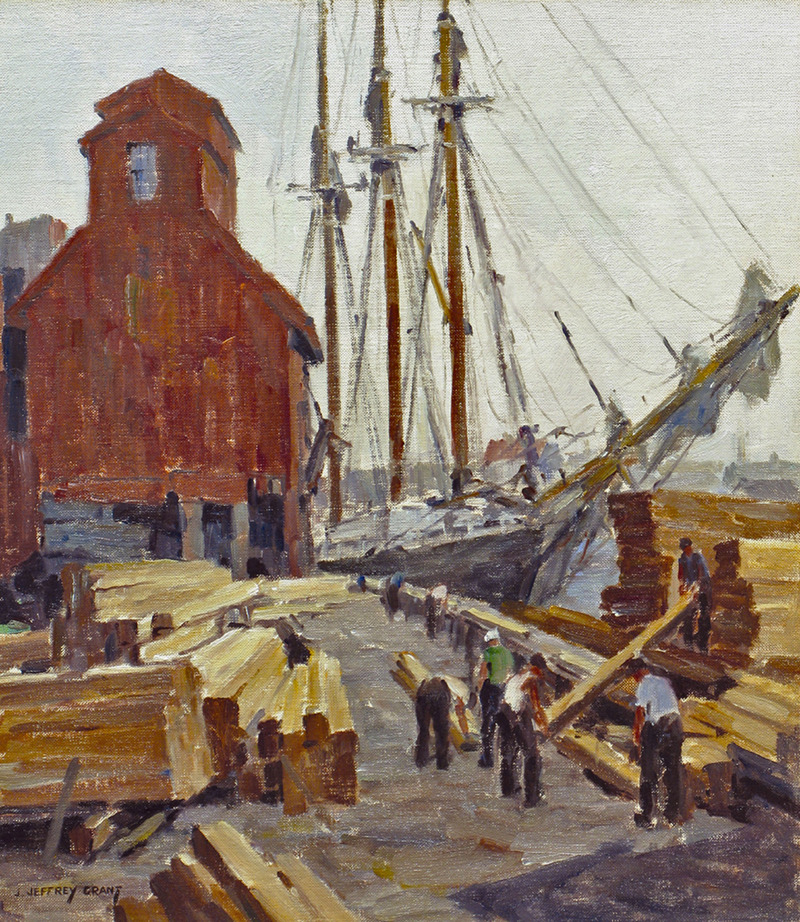 Unloading Lumber, Gloucester Harbor by James Jeffrey Grant (1883-1960)
