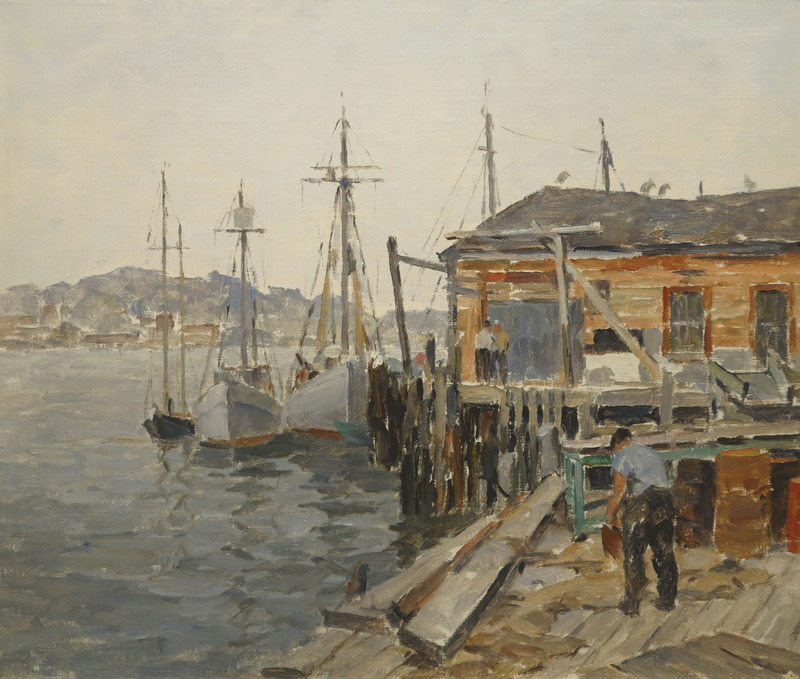 Gloucester Dock Scene by James Jeffrey Grant (1883-1960)