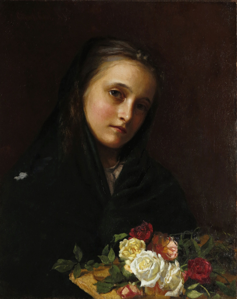 Girl with Flowers by William Gilbert Gaul (1855-1919)