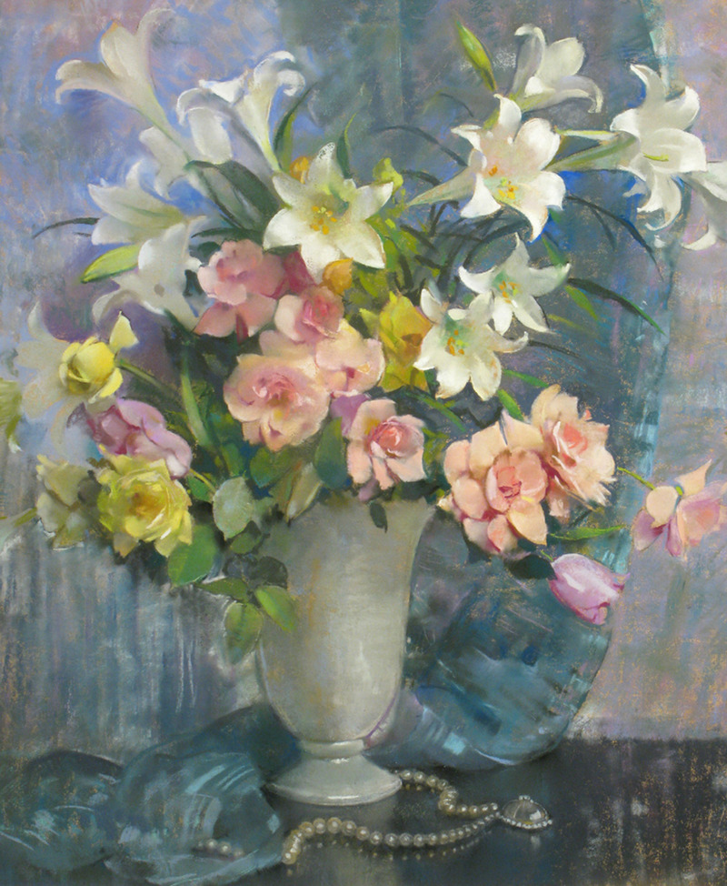 Lilies and Roses by Laura Coombs Hills (1859-1952)