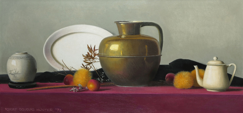 Still Life with Polished Brass Pot by Robert Douglas Hunter (1928-2014)