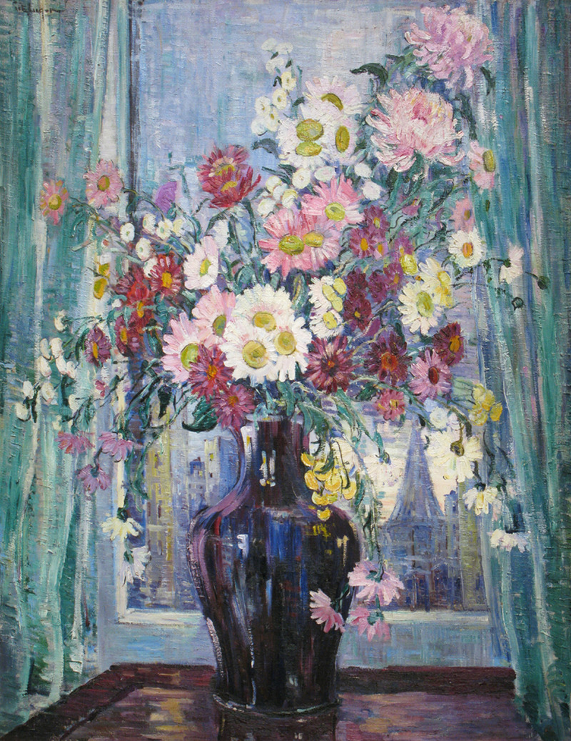 Flowers in Front of Window by Dorothea Litzinger (1889-1925)