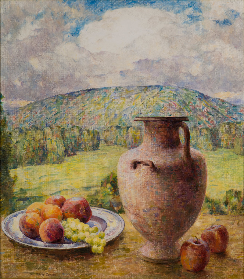 Urn and Fruit in a Landscape by Dines Carlsen (1901-1966)