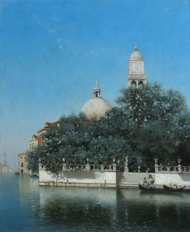 Venetian Canal and Garden by Warren Sheppard (1858-1937)
