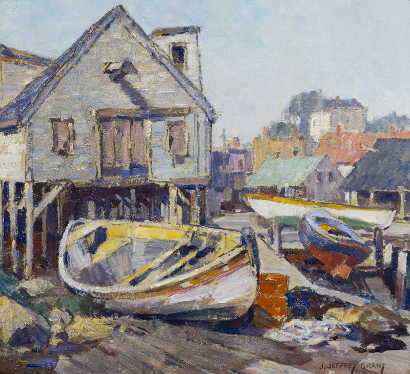 Along the Wharf, Cape Ann by James Jeffrey Grant (1883-1960)