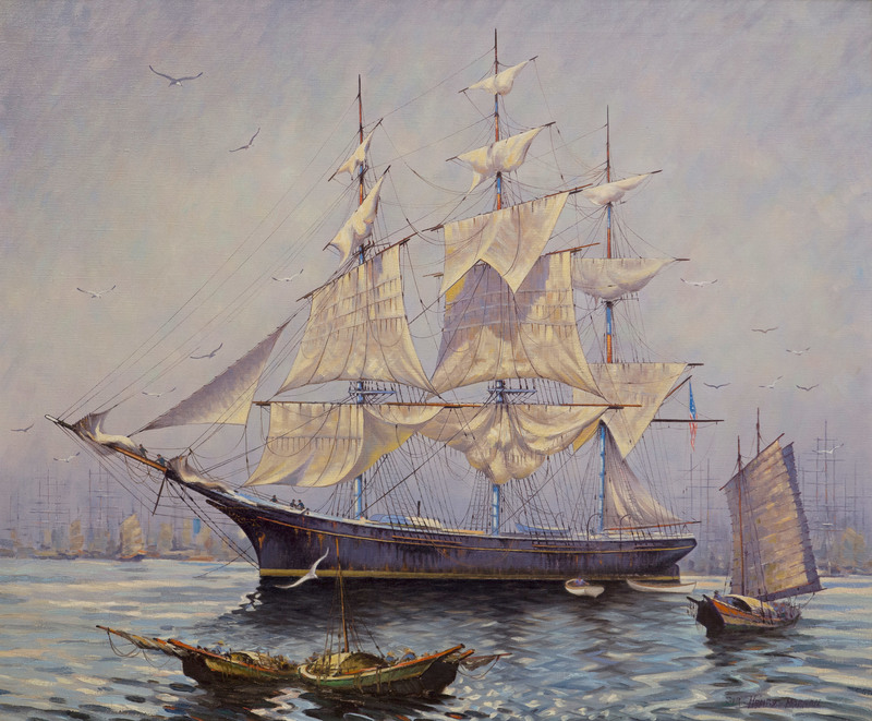'Glory of the Seas' at Singapore by Sir Henry Morgan (20th Century)