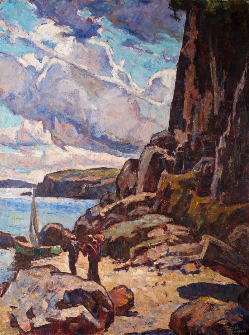 Ashore by the Cliffs by Ernest N. Townsend (1893-1945)