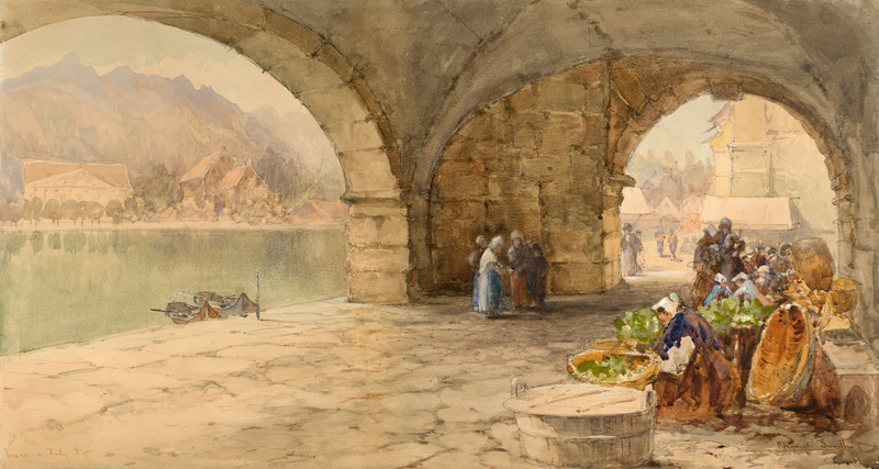 Market under the Arches, Lucerne, Switzerland by Francis Hopkinson Smith (1838-1915)