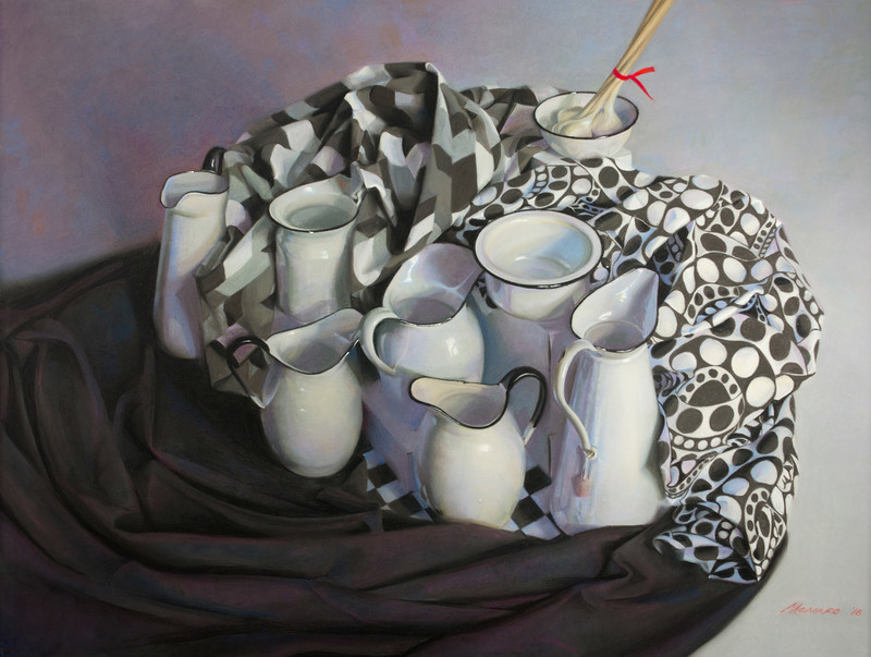 Still Life with Garlic by Janet Monafo