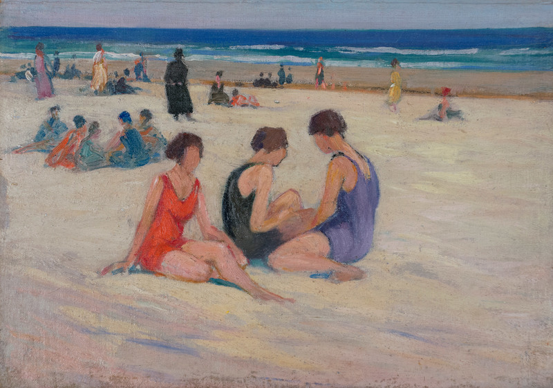 Red and Lavender Bathing Suits by Charles H. Woodbury (1864-1940)