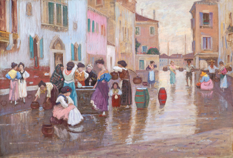Women Gathered around Fountain, Venice by Theodore Wendel (1857-1932)