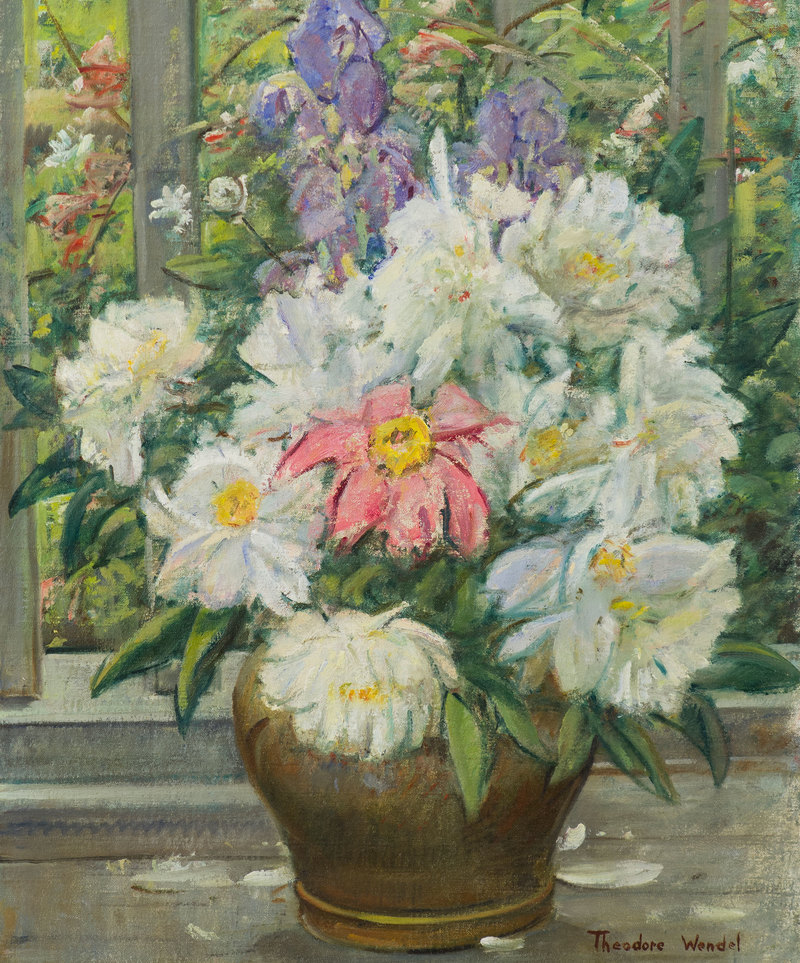 Peonies in a Brass Container by Theodore Wendel (1857-1932)