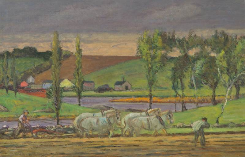 Ploughing the Field, Ipswich by Theodore Wendel (1857-1932)