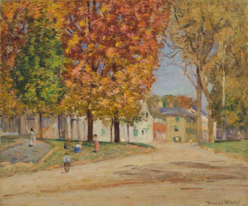 Autumn on Main Street, Ipswich by Theodore Wendel (1857-1932)