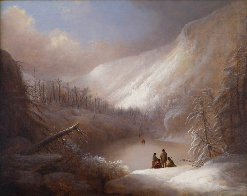 Native Americans Crossing a Frozen Lake by Alvan Fisher (1792-1863)
