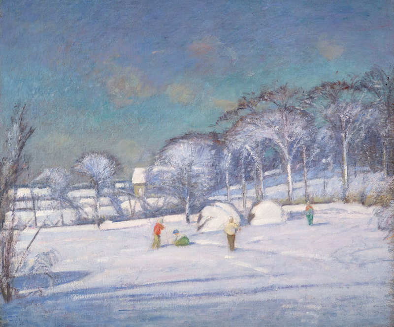 Snow Scene with Children Playing  by Theodore Wendel (1857-1932)