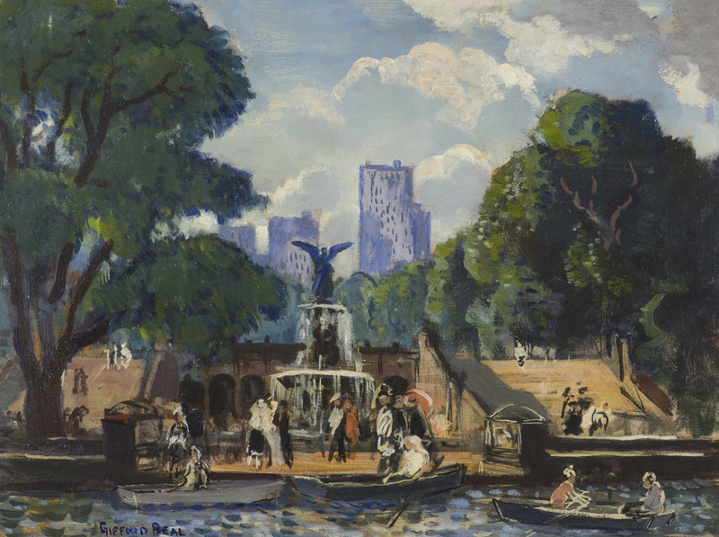 Bethesda Fountain, Central Park, NYC by Gifford Beal (1879-1956)