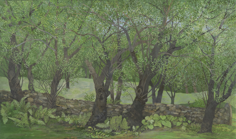 Ancient Apple Trees and Stone Wall by Gary Milek